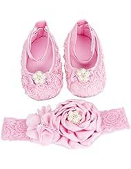 Conjuntos de Lovely Feitong Baby Infant Zapatos + Headband Set para Bebés niñas