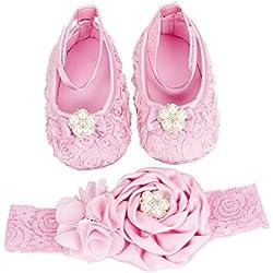 FEITONG Conjunto para bebé de zapatos y cinta para el pelo, set para niñas beige rosa Talla:11