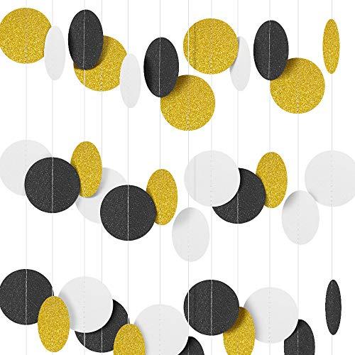 3 Stück- 4M Bunte Kreis Dots Hängen Banner, Runde Glitter Papier Girlande Dekorationen für Hochzeit Braut Babydusche Geburtstagsfeier Banner(Schwarz+Weiß+Gold Glitzer)