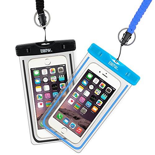 EOTW 2 Stück Wasserdichte Handy Hülle, Wasser- und staubdichte Hülle für iPhone, Samsung, Nexus, HTC und Mehr, Super Hülle für Den Strand und Wassersport, Schwarz+Blau