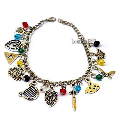 10-pcs-legends-of-zelda-themed-charm-bracelet-cosplay-jewelry-silver