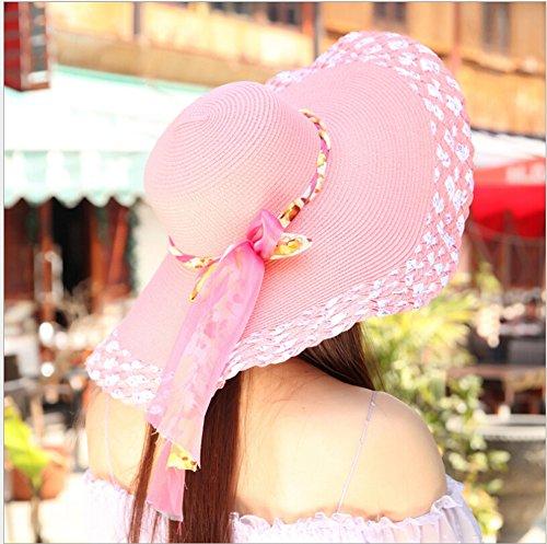 Surker Femmes Chapeau de paille d'¨¦t¨¦ Bownot chapeaux de plage grands larges bords Caps Sun Rose rouge