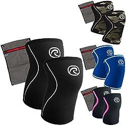Rehband [1 Paar] 7 mm Neopren Kniebandage - Kniestütze + Ziatec Wäschenetz - Power-Edition - Kniegelenk-Bandage - Kniebandage-Krafttraining, Größe:M, Farbe:schwarz