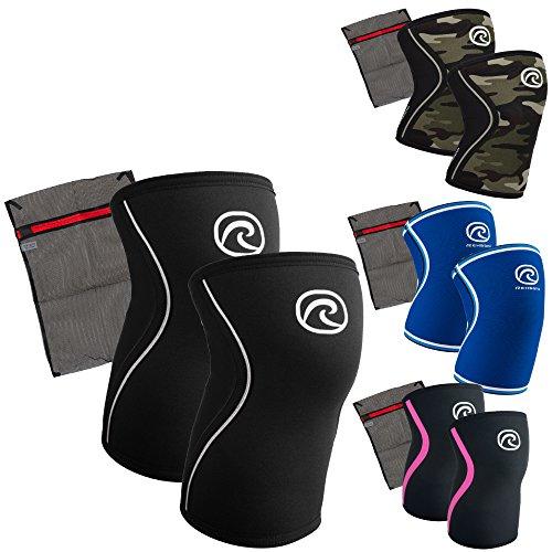 Rehband [1 Paar] 7 mm Neopren Kniebandage - Kniestütze + Ziatec Wäschenetz - Power-Edition - Kniegelenk-Bandage - Kniebandage-Krafttraining, Größe:L, Farbe:schwarz