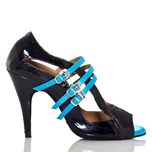Minitoo femme en cuir PU élégant Mary Jane Chaussures de dansécoles latine Salsa Bleu
