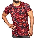 SMILODOX Camouflage Slim Fit T-Shirt Herren | Kurzarm Funktionsshirt für Sport Fitness Gym & Training | Trainingsshirt - Laufshirt - Sportshirt mit Aufdruck, Größe:XXL, Farbe:Rot Camo