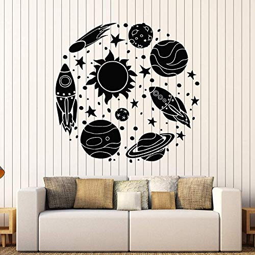 wanmeidp Vinyl Wandtattoo Rakete Astronaut Cartoon Sun Space Planeten Aufkleber Für Kinderzimmer Abnehmbare Nusery Decor Wohnkultur 1 42x44 cm