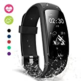 moreFit Fitness Tracker with Heart Rate Monitor, Touch HR Waterproof Activity Tracker Wearable Smart Wristband Pedometer, Black