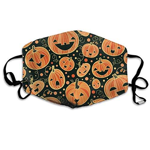 Mundmaske, Halloween, Kürbis-Muster, Ohrschlaufe, verstellbar, elastisches Band für Malerei im Freien, gegen Keime, Anti-Staub, Atemschutzmaske, Halbmaske