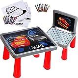 alles-meine.de GmbH Set: Tisch & Stuhl - incl. Malvorlagen + Stifte -  Disney Cars / Lightning McQueen - Auto  - inkl. Name - Maltisch / Zeichentisch / Schreibtisch / Spieltisc..