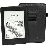 DURAGADGET`s schwarze Schutzhülle mit integriertem Stand - maßgefertigt - für den Amazon Kindle Paperwhite und Paperwhite 3G + USB-Premium EU/DE Ladestecker