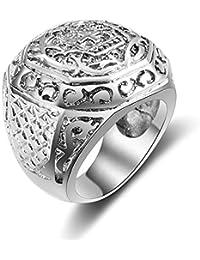 Trendsmax Joyeria Hombres de acero inoxidable 316L Anillo Ninos Gotico Negro Tono de plata tallado craneo Flor