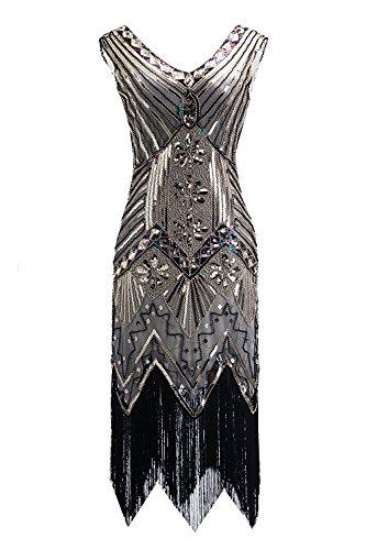 im Stil der 20er mit Pailletten und Fransen Gr. XL, Q2-gold+silver (20er Jahre Stil Kleid)