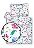 Kinderbettwäsche viele Designs 2-tlg. 100% Baumwolle 40x60 + 100x135 cm (Duschungel rosa-blau)