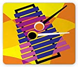 Xylophone Mouse Pad, Contemporary Hippie Style Musical Vibes Indie Rock Party Icon Abstract Design, Standard Size Rectangle Non-Slip Rubber Mousepad, Multicolor