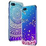 Yoowei [2-Pack] Funda para Xiaomi Mi 8 Lite, Transparente con Dibujos Ultra Fino Suave TPU Silicona Protector Carcasa para Xiaomi Mi 8 Lite (Flores de Cerezo, Mandala Blanca)
