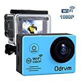 WiFi Underwater Action Camera 12MP 1080P HD Camcorder Waterproof Camera with 2 Free Batteries, Portable Handbag and Mounting Accessories Kit for Surfing Diving Swimming etc. Blue