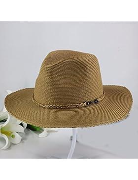 LVLIDAN Sombrero para el sol del verano Lady Anti-Sol Playa sombrero de paja plegable color café estilo británico