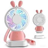 MEACOM Hand USB Ventilator, Acslam Hand Ventilator Mini Ventilator USB Tischventilator mit LED Licht für Haus, Büro, Reisen und Outdoor (Rosa)