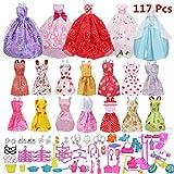 Sungpunet Barbie-Zubehör, Barbie-Kleid-Zusätze, 14 Sommer-Rock-Kleid + 5 Brautkleider + 98 Barbie-Zubehör