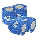 12 stück Pfotendruck Blauer Hundeverband selbsthaftende Haft bandage 5cm x 450cm Pfoten Verband