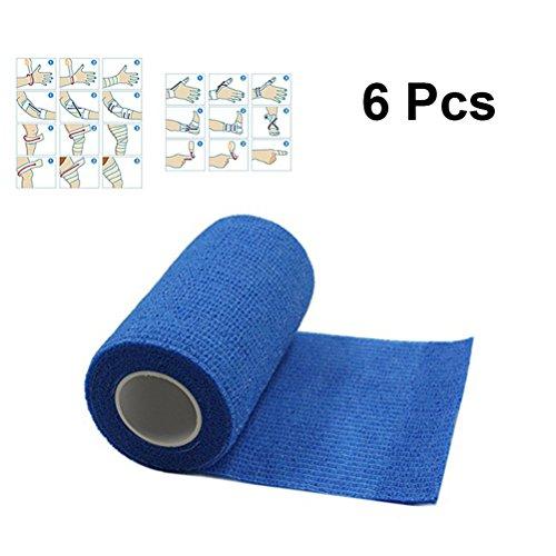 ULTNICE 6 Roll Cohesive Wrap Bandage Tape Selbstklebende Bandage Tape für Athletic Sport 7.5x450cm (blau) -