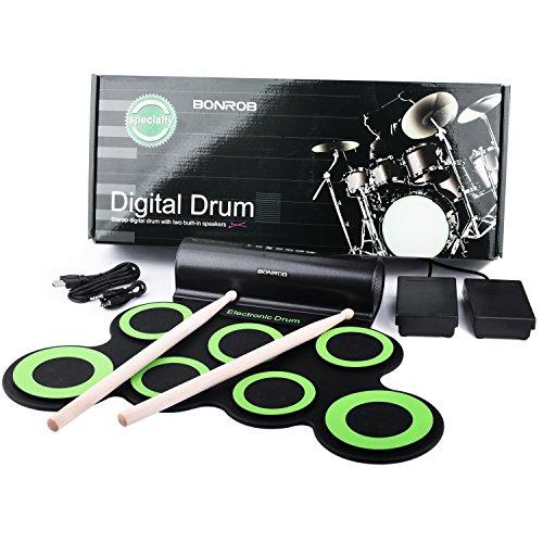 BONROB Batterie Electronique Drum Set, Roll Up percussions Midi Drum Kit avec Casque et Enceintes intégrées Drum Pedals et Baguettes, jusqu'à Lot de 10 Feuilles. Temps de Jeu, Cadeau de Noël Img 4 Zoom