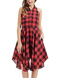Minetom Femme Été Élégant Sans Manche Plaid Shirt Blouse Robe Chic Treillis Asymétrique Longue Chemisier Dress