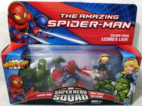 Marvel Spiderman Super Hero Squad Figure 3-Pack - Escape from Lizard's Lair (Spider-Man, Gwen Stacy and The Lizard)