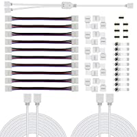 Chesbung 5050 4 Pin RGB LED Light Strip Connector Kit Waterproof with 10mm PBC LED Strip Jumper Connectors, 2 Way LED RGB Splitter Cable,RGB Extension Cable, LED Light Strip Clips, Gapless Connectors