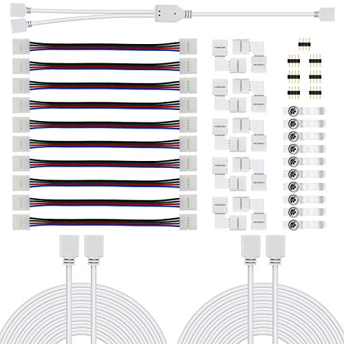 Chesbung 5050 Kit di connettori per strisce LED RGB a 4 pin Kit di connettori LED RGB a 2 vie, 10mm Connettori per connettori a striscia PBC LED, cavo di prolunga RGB, clip per striscia LED