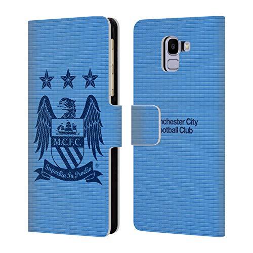 Head Case Designs Offizielle Manchester City Man City FC Obsidian Kubus und Himmelblau Crest Pixel Brieftasche Handyhülle aus Leder für Samsung Galaxy J6 / On6 (2018)