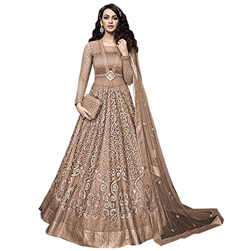 Anarkali For Women's ( Fashion Care Net embroidered Semi-stitched Anarkali color Beige...