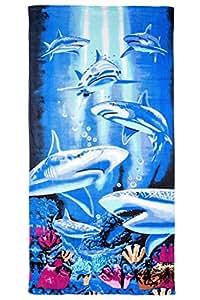 GIBRA® Serviette de plage drap de bain 70x 140cm, motif: Requins dans l'eau