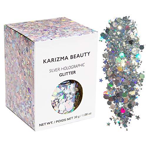Klobiger Glitzer in Silber Holographisch // Karizma Beauty Festival Glitter Gesicht glitzern Karosserie Haar Kosmetisch 30g