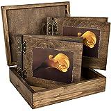 Grueso 50hojas Madera álbum de fotos, libro de visitas, estuche de madera boda Foto y organizador