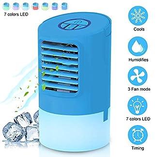 EEIEER Mini Climatizador Portatil, 4 en1 Ventilador de Humidificador Mini Aire Acondicionado Frio Personal Air Cooler 24V Desk Air Conditioner Fan Sin Freón 7 Colores Luz Ajustable con Temporizador