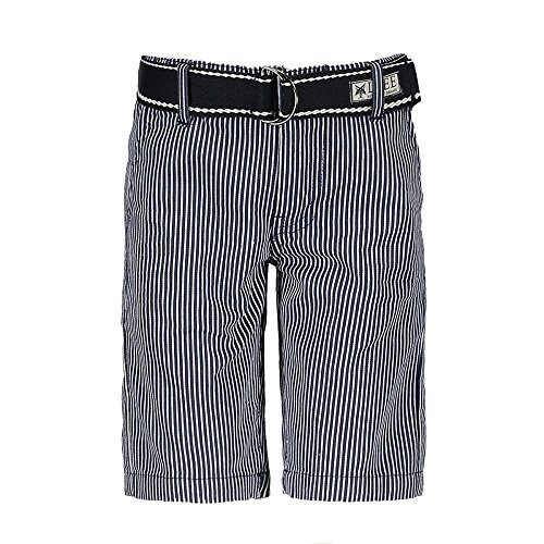 LCEE Boys Jungen Short kurze Hose Bermuda Gürtel estate blue gestreift (116) (Boys Navy Blue Shorts)
