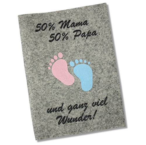 Housse pour carnet de maternité «50 % Mama 50 % Papa...und ganz viel Wunder» en feutrine (en trois couleurs) Deutscher Mutterpass Grau / Deutscher Mutterpass