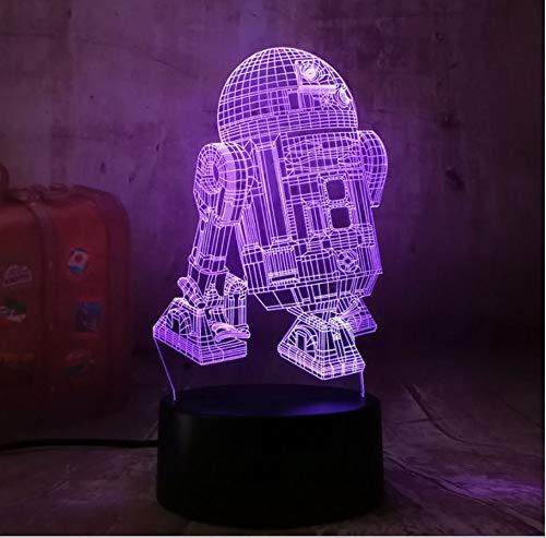 Warship R2D2 3D Led Nachtlicht Dekoration Kinder Geschenk Touch 7 Farbe Schlaf Licht Glanz Lampe