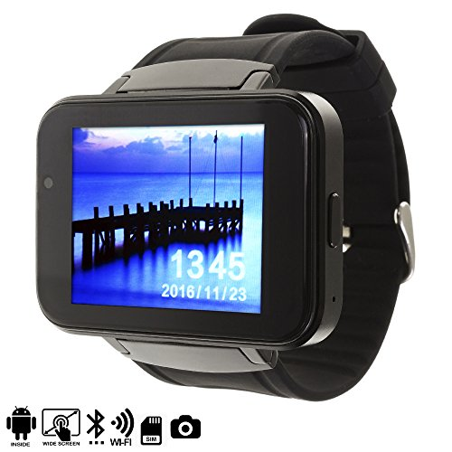DAM SMARTWATCH PHONE DM86 CON ANDROID 4,4 Negro alarma, reproductor de video, calendario, calculadora, grabación de voz, email, escarga a través de Google Play tus aplicaciones favoritas.