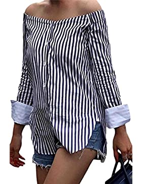 Mupoduvos Las Rayas de Manga Larga Casual Hombro Blusa T Shirt Top Camiseta Cuello Barco