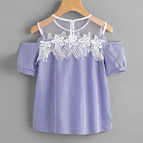 OverDose Damen Sommer Tops Frauen Kurzschluss Hülse weg von der Schulter Spitze gestreiften Blumen Blusen beiläufigen Oberseiten T-Shirt Blau