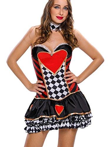 La vogue Damen Königin der Herzen Kostüm Halloween Gothic Corsagenkleid (In Rote Alice Wunderland Königin Kostüm Die Im)