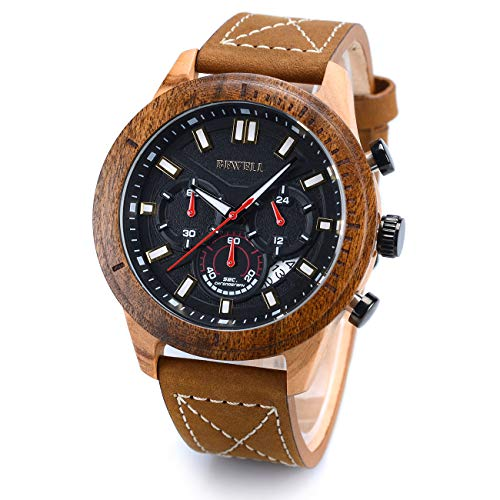 BEWELL W161A Herren Quarz Analoge Armbanduhr mit Zifferblatt aus Holz und Lederarmband, ausgestattet...