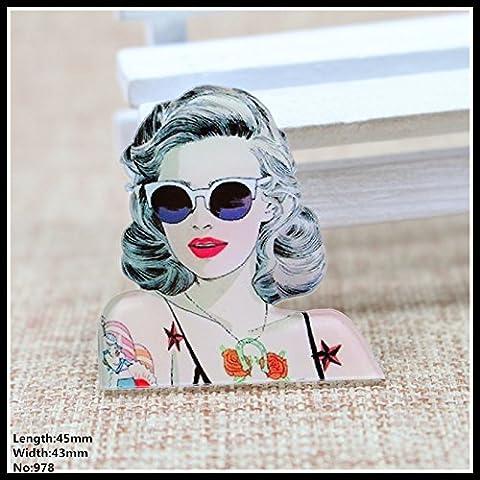 El nuevo envío libre 2pcs preciosa de acrílico de dibujos animados de Marilyn Monroe de accesorios de moda collar de regalo de la joyería broche broche insignia del Pin, mascotas, 978