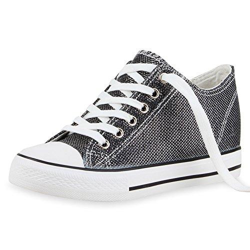 SCARPE VITA Damen Sneaker-Wedges Glitzer Keil Absatz Sneakers Schuhe 165267 Schwarz 39