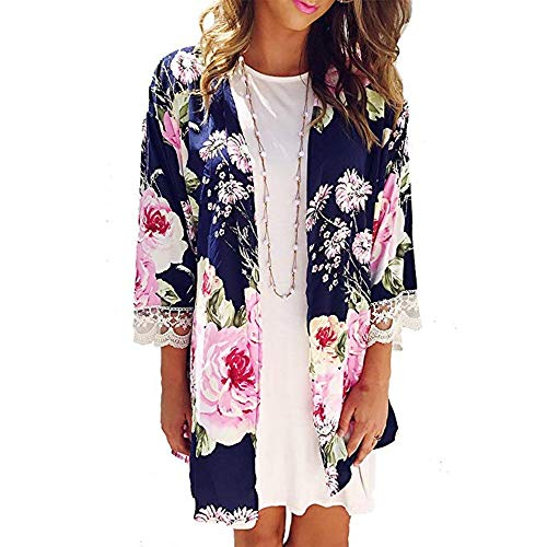 LoveLeiter Arbeiten Sie Womens Casual Schal Print Kimono Cardigan Top Cover up Bluse Ladies Printed - Strickjacke mit Damen Frauen Chiffon Floral lose Halbe Hülse Oben -