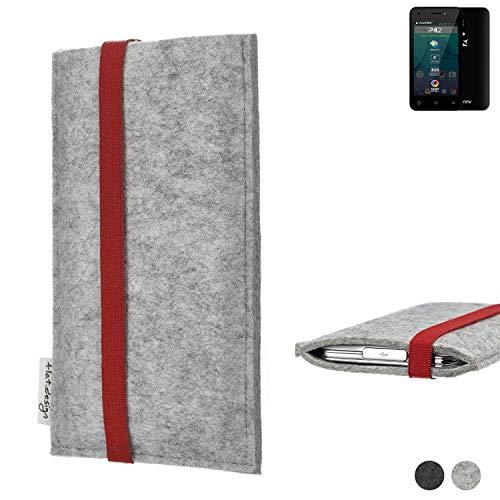 flat.design Handy Hülle Coimbra für Allview P42 individualisierbare Handytasche Filz Tasche rot grau