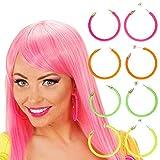 80er Jahre Ohrringe Modeschmuck Creolen neon-pink 80s Damen Schmuck Mode Ohrclips Party Ohrstecker Damenohrringe Kostüm Zubehör Damen